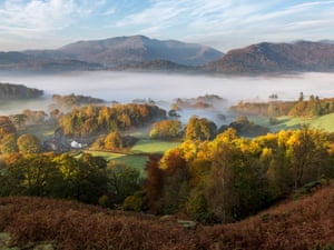 Loughrigg Fell near Ambleside and the view towards Langdale, Lake District.