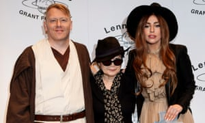 Dressed for the part … mayor Jón Gnarr sporting Star Wars kit, with Yoko Ono and Lady Gaga in Reykjavik in 2012. Photograph: AP Photo/Brynjar Gauti