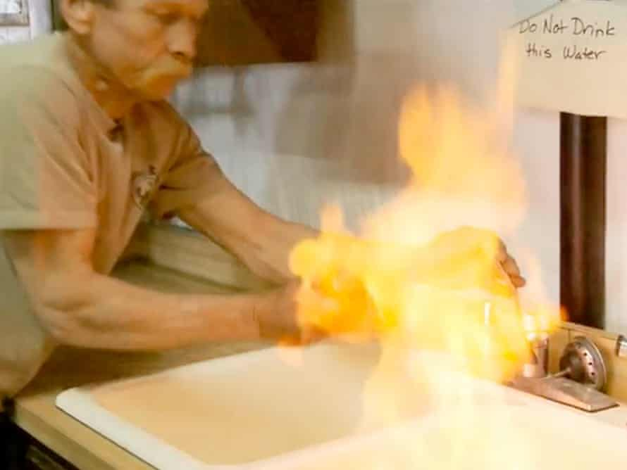 A still from the documentary Gasland, which showed natural gas levels in water that meant tap water could be set on fire. Photograph: Gasland