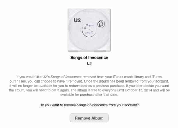 The new removal page for U2's Songs of Innocence album.
