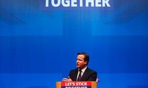 David Cameron delivering his speech in Edinburgh.