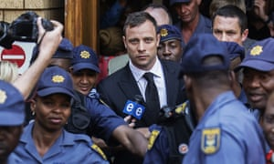 Oscar Pistorius leaving the high court in Pretoria after he was found guilty of culpable homicide