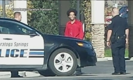 Darrien Hunt and police just before the shooting.