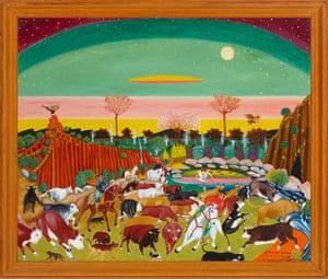 James Fardoulys's Stampede Under Aurora Australis (1971). Artbank