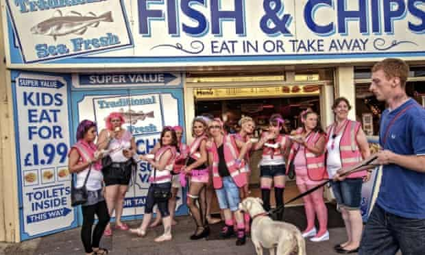 A hen party stops for fish and chip in Blackpool.