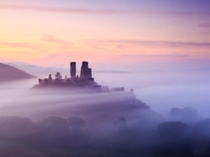 Early morning in the autumn, Corfe Castle in Dorset.