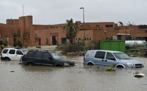 Stranded cars in a flooded street in San José del Cabo