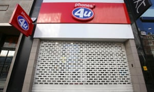 A Phones 4U shop in Oxford Street in central London with its shutters down as more than 500 of its stores were shut after the retail chain went into administration.