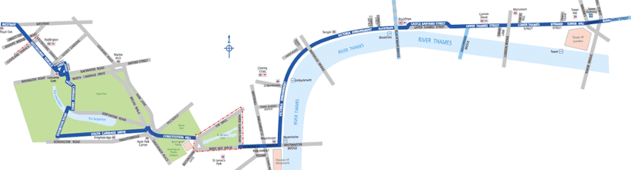 Proposed route of London East-West Cycle Superhighway