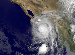 "This Nasa satellite image shows hurricane Odile approaching Mexico's Baja California. The ""dangerous"" hurricane packed 125mph winds when it landed near Cabo San Lucas, according to the US National Hurricane Centre"