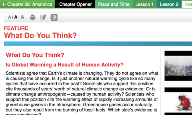 An entry in the Texas school texts making false claims about the driver of climate change