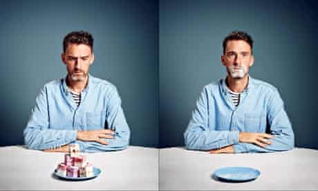 Two images of Will Storr, one with a plate of cakes in front of him, one with an empty plate