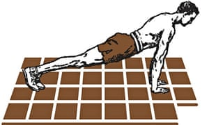 Illustration of a man doing press-ups on a mat that looks like a chocolate bar