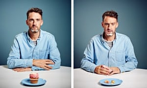 Two pictures of Will Storr, one with a cake on a plate in front of him and the other with crumbs