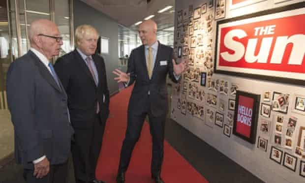 The Sun's David Dinsmore emphasises the breadth of the paper's coverage to Rupert Murdoch and Boris Johnson