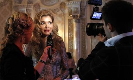 Gulnara Karimova giving an interview at a gala dinner in Tashkent in 2012 Uzbekistan