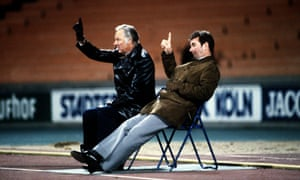 Brian Clough and Peter Taylor watch from the sidelines during Nottingham Forest's European Cup semi-final in Cologne, in 1979.