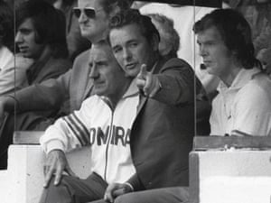 Brian Clough issues instructions next to Jimmy Gordon during Leeds United 's 1-0 win over Birmingham City.