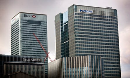 The offices of Barclays and HSBC in Canary Wharf, London