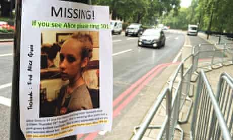 A missing person flyer seeking information on Alice Gross