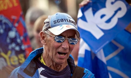 Former Black Watch soldier John McCutcheon attends a Yes campaign rally in Perth, Scotland