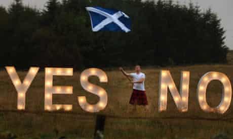 YES or NO illuminated signs near Dunblane, Scotland
