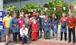 Llandrindod Repair Cafe staff with town cryer