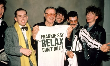On message: with band members Mark O'Toole, Peter Gill, Paul Rutherford, Brian Nash meeting Gene Kelly in Los Angeles in 1984.