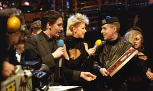 Headline act: with Jools Holland and Leslie Ash on The Tube, in 1985.
