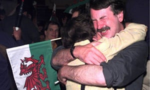 Supporters celebrate the yes victory vote in the Welsh referendum in 1997
