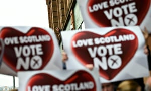 A man looks on as no supporters campaign in Glasgow.