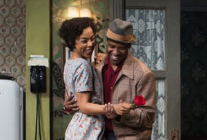 """Sophie Okonedo and Denzel Washington during a performance of """"A Raisin in the Sun,"""" at the Ethel Barrymore Theatre in New York"""