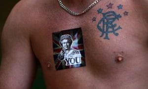 A Glasgow Rangers fan displays his loyalties.