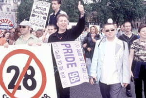 On the march: with Graham Norton and Tom Robinson.