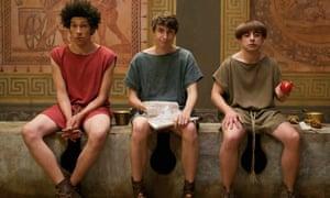 Latin lovers: (l-r) Stylax (Joel Fry), Marcus (Tom Rosenthal) and Grumio (Ryan Sampson) in Plebs.