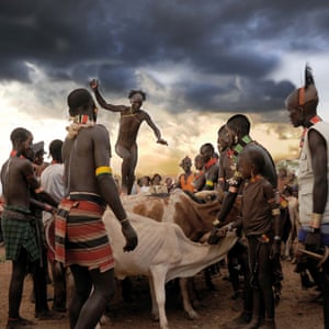In the Omo Valley, Ethiopia, Hamar men take part in a cattle-leaping ceremony
