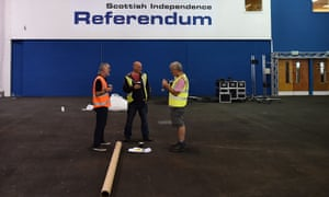 Workers prepare the inside of Highland Hall, the venue for the Edinburgh vote count and referendum declaration in Edinburgh.