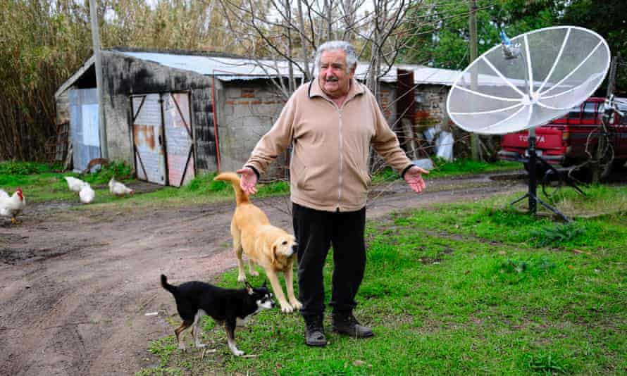 The president in the grounds of his humble smallholding.