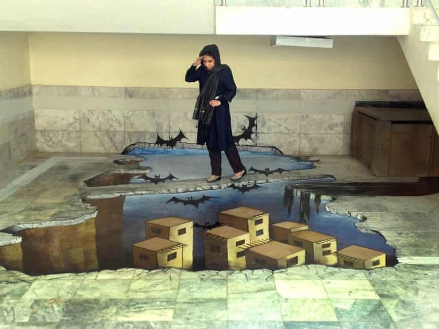 A 3D floor painting inside the French Cultural IUnstitute, Kabul.