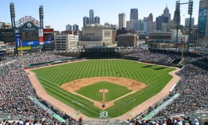 An aerial view of Comerica Park.
