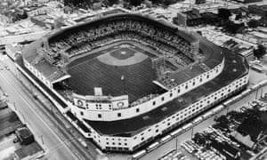 Aerial view of Detroit's Tiger Stadium, where the third fifth games of the 1968 World Series took place.