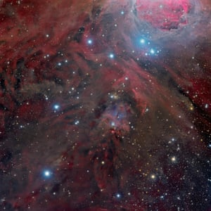 At the Feet of Orion (NGC 1999) Full Field  Marco Lorenzi (China) Deep space: highly commended  This image is centred on NGC 1999, an area situated below Orion's Belt. The scatter of the bright blue stars illuminates the billowing dust and gas clouds dancing across the image