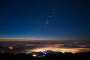 Venus-Lunar Occultation O Chul Kwon (South Korea), highly commended  A time-lapse image over Mount Hambaek in South Korea of a Venus-lunar occultation. The photograph shows what happens when the moon and Venus appear to occupy the same position in the sky. Venus becomes temporarily hidden by the moon, only to re-emerge less than an hour later