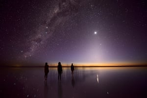 Lost Souls  Julie Fletcher (Australia), People & Space: runner-up  'Zodiacal light' seems to rise from the horizon like a pyramid with the brilliant point of Venus at its apex. Below is Kati Thanda-Lake Eyre in Australia