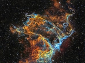 Veil Nebula Detail (IC 340)  J.P. Mets vainio (Finland) Deep Space: highly commended  This is a supernova remnant in the constellation Cygnus approximately 1,470 light years away. It formed from the debris of an star that exploded over 5,000 years ago