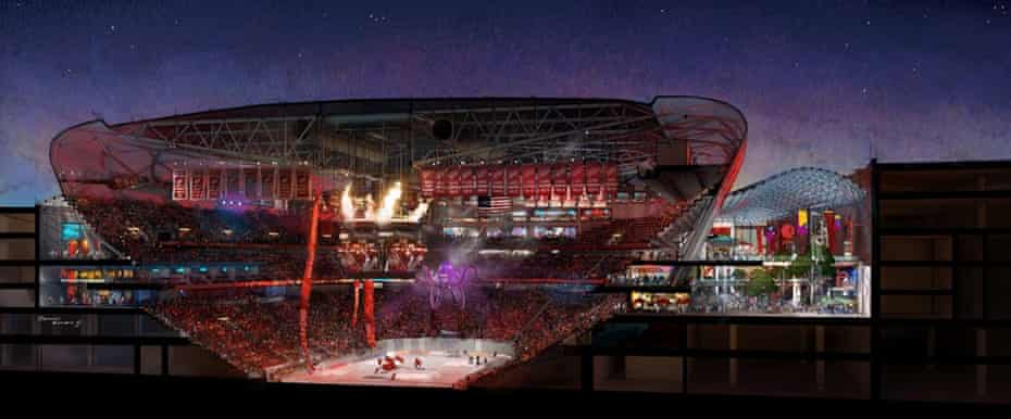 Detroit Red Wings blueprints for a new $450 million ice hockey arena.