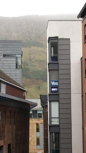 Yes signs at SNP HQ in Edinburgh.