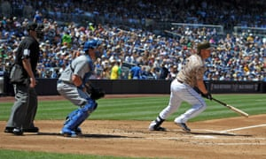 San Diego Padres catcher Yasmani Grandal in action in Petco Park against the Los Angeles Dodgers.
