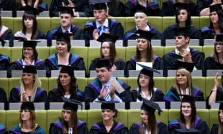 Students at their graduation from Edge Hill University, Lancashire.