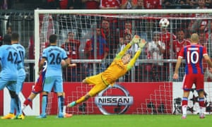 Joe Hart of Manchester City can't stop the shot by Jerome Boateng which won the match.